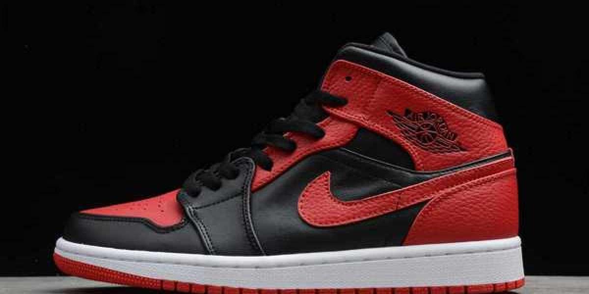 "Air Jordan 1 Mid ""Bred"" Black/Red-White 2020 Newest 554724-074"