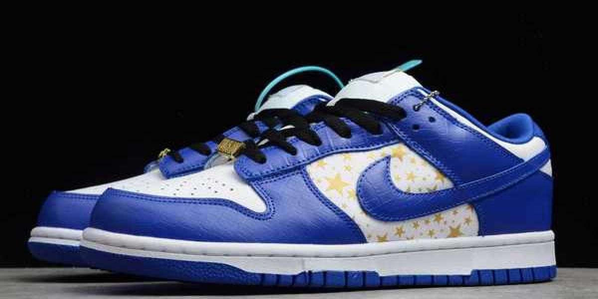 """Supreme x Nike SB Dunk Low SB QS """"Hyper Royal"""" White/Metallic Gold-Hyper Blue 2021 Brand New DH3228-100"""