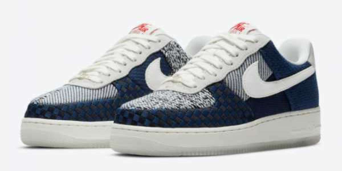 """The official image of the new Nike Air Force 1 """"Sashiko"""" DD5401-492 is released!"""